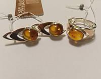 Комплект серебряный с золотом и желтым янтарем Амбре