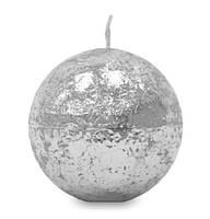 Свеча парафиновая серебро шар маленький 488