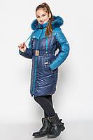 Зимнее модное пальто для девочки 128.