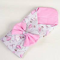 Конверт - одеяло на выписку демисезонный BabySoon Балеринки 80 х 85 см розовый (053)