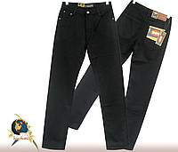 Джинсы мужские классические утеплённые на флисе чёрного цвета BS-839