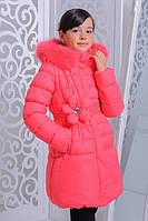 Зимнее модное пальто для девочки.Есть маленький деффект.