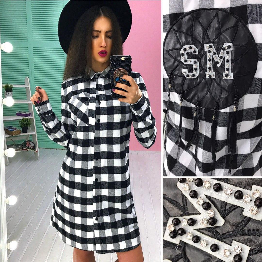 7633446ecc8 Женское платье рубашка в клетку(тонкая байка)