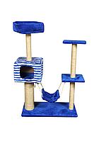 Комплекс игровой Лагуна для кошек с домиком и гамаком джут 139 см
