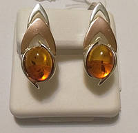 Серьги из серебра с золотом и желтым янтарем Амбре