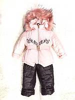 Детский зимний костюм: куртка и комбинезон, на флисовой подкладке, для девочки.