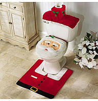 Новогодний набор для ванной комнаты 3/1-2 чехла+коврик