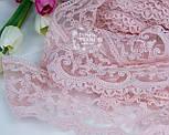 Кружево с кордовой нитью розового цвета, ширина 9 см., фото 2