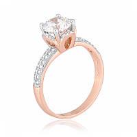 Серебряное кольцо позолоченное с белым камнем К3Ф/432