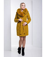 Ledi M Женское зимнее пальто RA 120 горчица Леди М