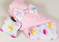 Конверт на выписку зимний + подушка BabySoon Принцесса одеяло 80 х 85см подушка 22х26 см розовый (065))