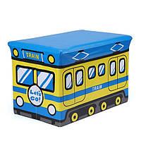 Пуф Короб складной, ящик для игрушек Желто-синий Автобус