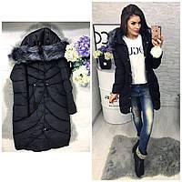 Женское зимнее пальто с поясом шнурком
