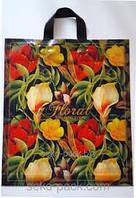 """Пакет поліетиленовий ПЕ тип петля """"Бурбері квіти"""" розмір 38х42 см"""