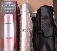Термос металлический UN-1001, 0,35 л с чехлом, фото 1