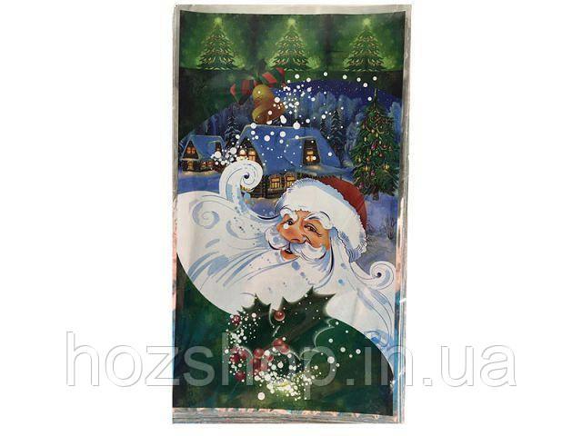 """Фольгированный пакет для конфет №24 (20x35) (100 шт) """"Дед Мороз на зеленом"""""""