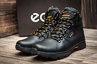 Мужские  зимние кожаные ботинки Ecco Tracking Black Night