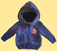 Кофта с капюшоном детская, для мальчика 6 мес., синяя