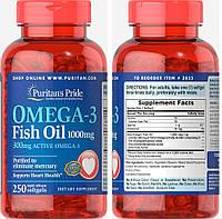 Puritan's Pride, Рыбий жир, Омега-3, 1000 мг, 250 капсул