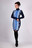Вязаное теплое платье Латте р 42-50