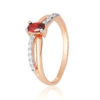 Позолоченное серебряное кольцо с красным камнем К3ФГ/063