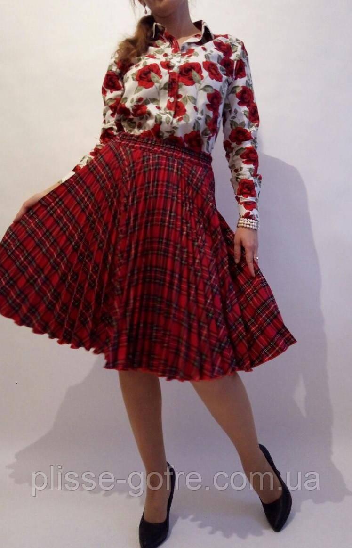 95eed1fd23b Заказать Плиссированные юбки полные солнца красные костюмные клетки ...