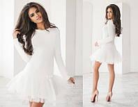 Нарядное короткое женское трикотажное платье с фатиновой юбкой   +цвета