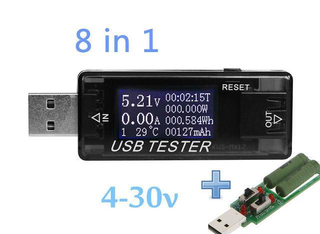 USB тестер KWS-MX17 4-30V 5A для проверки зарядок/кабелей/Power Bank + нагрузочный резистор до 3А