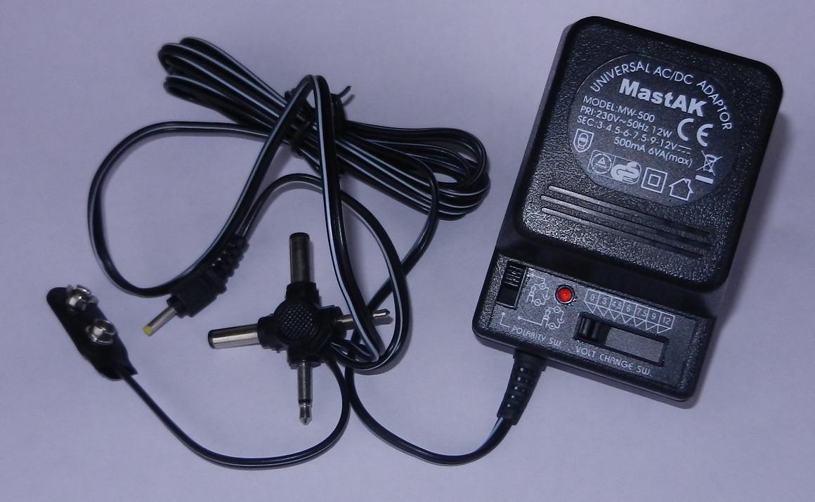 "Блок пит ""Mastak"" MW-500 (3/4.5/6/7.5/9/12v, 500mA AC/DC)"