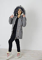 Пальто парка из шерсти на овчине с чернобуркой Д 127, цвет светло-серый