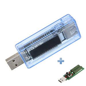 USB тестер Keweisi KWS-V20 4-20V для перевірки зарядок/кабелів/Power Bank +навантажувальний Резистор до 3А