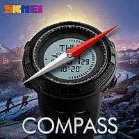 Военные тактические часы с компасом Skmei 1254 черные