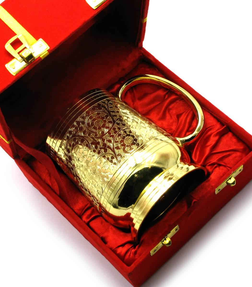 "КРУЖКА БРОНЗОВАЯ ПОЗОЛОЧЕНАЯ (15Х14,5Х10 СМ)(VELVET BOX BEER MUG SMALL GOLD) - Магазин  ""Дариленд""  в Харькове"
