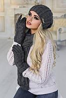 Женский вязаный комплект шапка шарф и перчатки Андорра в разных цветах
