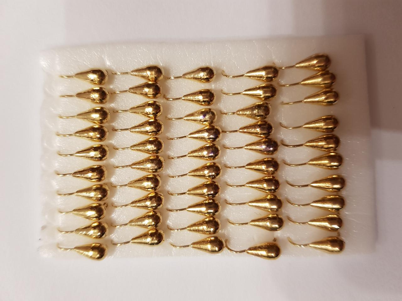 Мормышка вольфрам капля 3 золото 0,5г