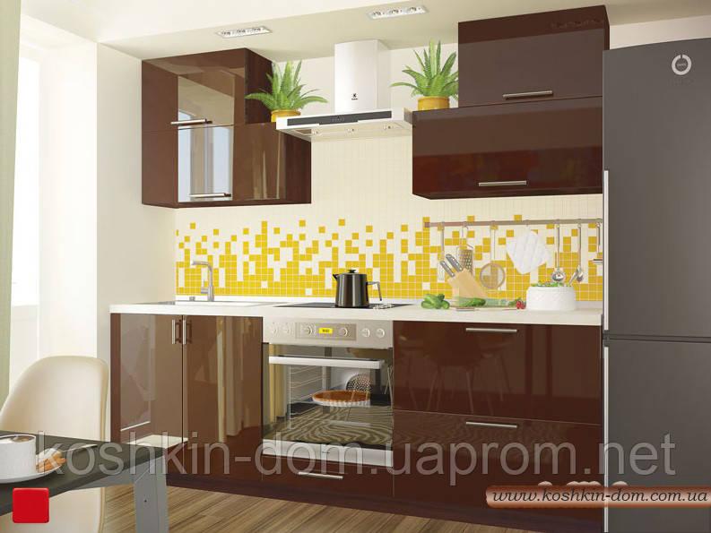 Кухня модульная MDF крашенный глянец  2200 мм шоколад