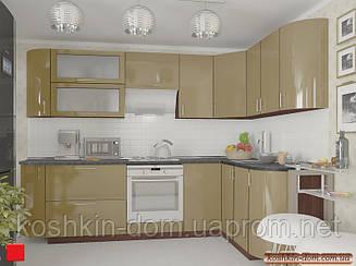 Кухня угловая модульная MDF крашенный глянец кофейный 2,7*1,7 м
