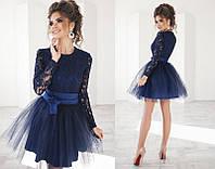 Нарядное женское платье в стиле бэби-долл с верхом из гипюра и короткой пышной фатиновой юбкой   +цвета