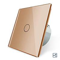 Сенсорный проходной маршевый перекрестный выключатель Livolo золотой стекло (VL-C701S-13), фото 1