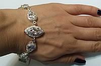 Браслет женский серебряный с камнями циркония Капля