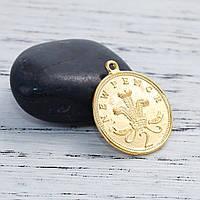 Подвеска Звонкая монета, Цинковый сплав,Цвет: золото, С надписями и узорами, 30 мм x 26 мм