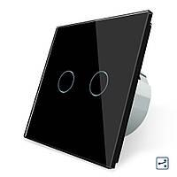 Сенсорный проходной маршевый перекрестный выключатель Livolo на 2 канала черный стекло (VL-C702S-12), фото 1