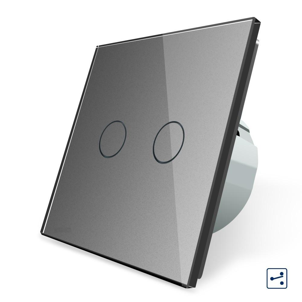 Сенсорный проходной выключатель Livolo на 2 канала, цвет серый, стекло (VL-C702S-15), фото 1