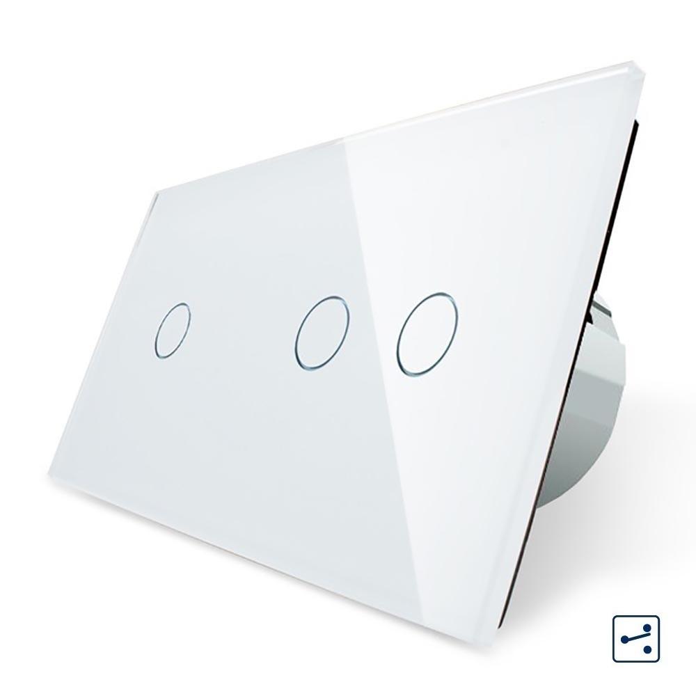 Сенсорный проходной выключатель Livolo на 3 канала 1+2, цвет белый, стекло (VL-C701S/C702S-11), фото 1