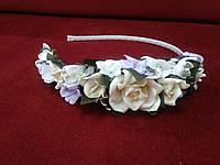 Обруч (венок) из цветов бежевый с сиреневым для взрослых и детей