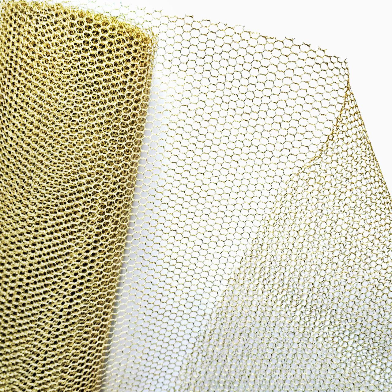 Сетка  Metall glitter светлое золото 86 см х 9 ярдов