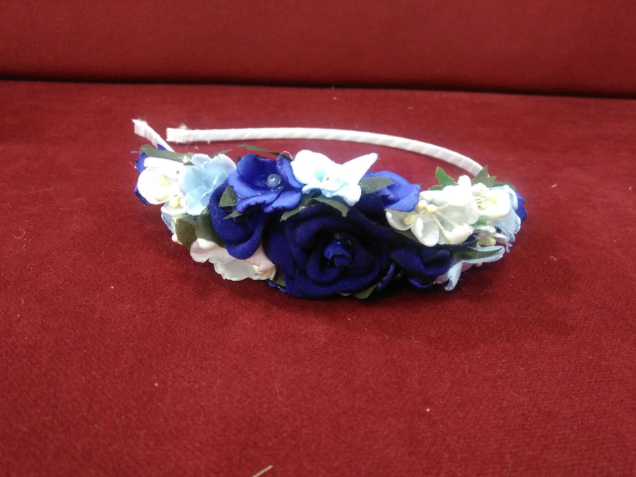 Вінок-ободок з квітів (обруч) синій для дорослих і дітей
