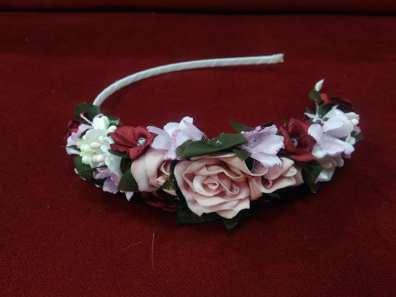 Венок на голову из цветов (обруч) розовый с бордовым для взрослых и детей