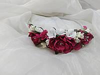 Обруч/венок из цветов малиновый для взрослых и детей