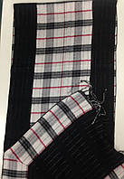 Кашемировый двухсторонний  шарф в клетку  цвет черный с белым, фото 1